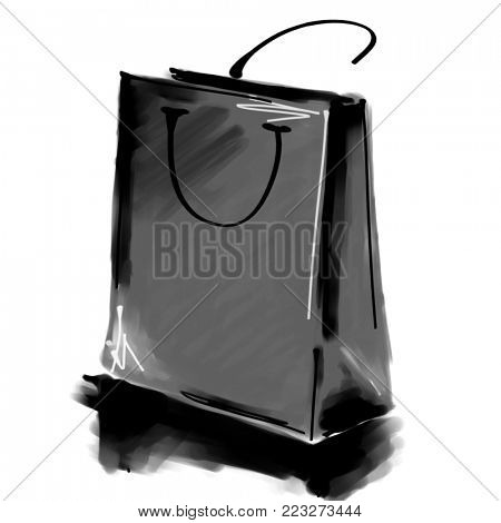 art digital acrylic and watercolor painted one monochrome dark grey shopping bag isolated on white background with space for text and label; monochrome 3d graphic