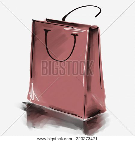 art digital acrylic and watercolor painted one monochrome brown shopping bag isolated on white background with space for text and label; colorful 3d graphic