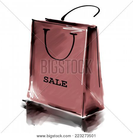 art digital acrylic and watercolor painted one monochrome brown shopping bag isolated on white background with label Sale; colorful 3d graphic