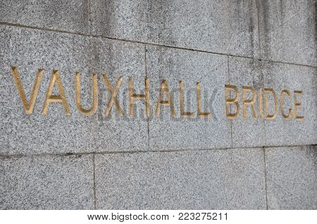 London, 18th January 2018:- Sign for Vauxhall Bridge located in South West London, near Mi6 headquarters
