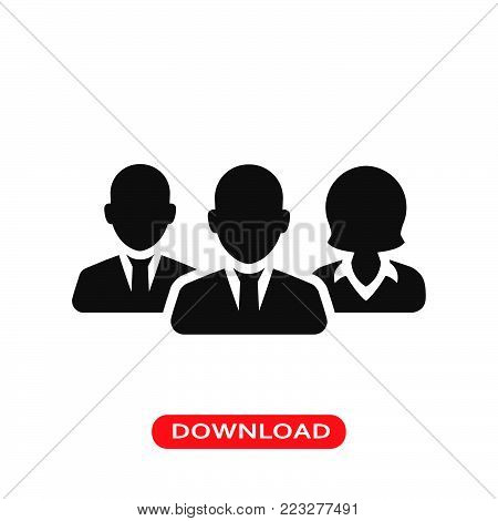 Workers team icon vector in modern flat style for web, graphic and mobile design. Workers team icon vector isolated on white background. Workers team icon vector illustration, editable stroke and EPS10. Workers team icon vector simple symbol for app, logo