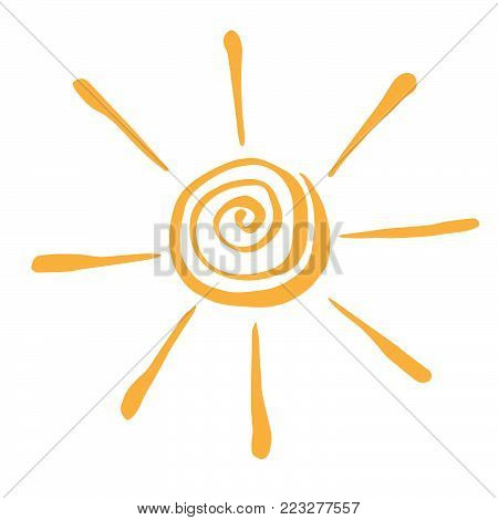 Yellow Stylized Sun in Inky Painted.  Vector illustration for magazine, poster, book cover, banner, flyer, booklet.