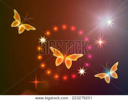 Glowing background with magic  butterflies and stars in a circle.Transparent butterfly  and stars..  Glowing image on red background.
