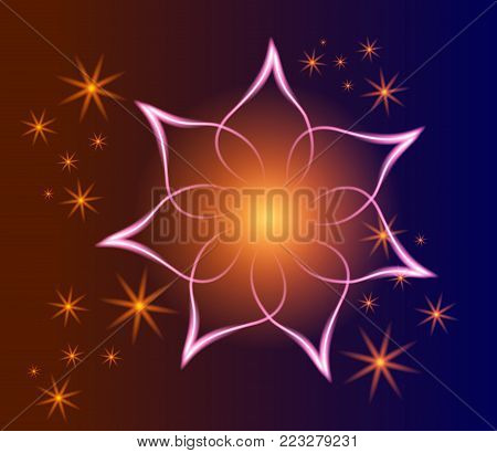 Glowing image on dark background. Glowing background with magic orange star. Transparent  stars on dark.