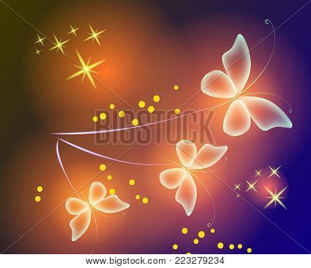 Glowing background with magic  butterflies and sparkling stars.Transparent butterfly and glowing stars. Orange butterflies.