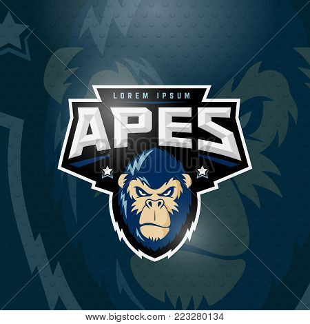 Sport Apes Abstract Vector Sign, Emblem or Logo Template. Classic Sport Team Mascot Label. Angry Gorilla Face with Typography. On Dark Background.