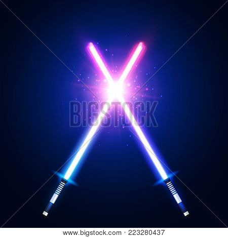 Two crossed light neon swords fight. Blue and pink crossing laser sabers war. Club logo or emblem. Glowing rays in space. Battle elements with star, flash and particles. Colorful vector illustration.