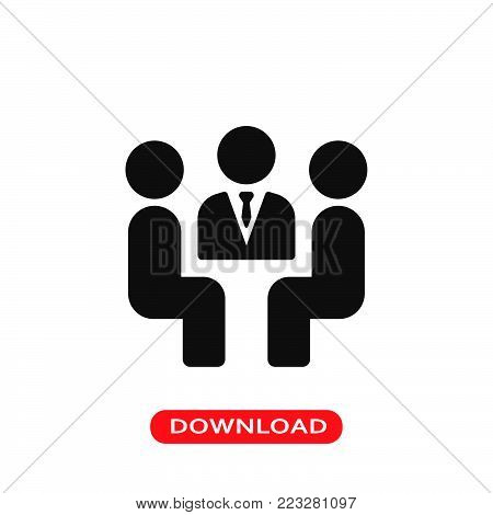 Meeting icon vector in modern flat style for web, graphic and mobile design. Meeting icon vector isolated on white background. Meeting icon vector illustration, editable stroke and EPS10. Meeting icon vector simple symbol for app, logo, UI.