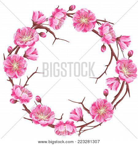 Frame with sakura or cherry blossom. Floral japanese ornament of blooming flowers.