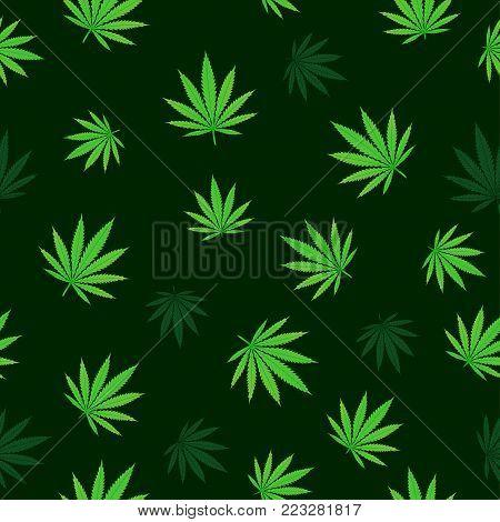Falling green cannabis seamless texture background. Hemp fall leaf nature pattern. Grass hashish marijuana drug design backdrop