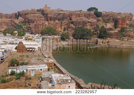view from rock top on a man-made reservoir in the Indian city Dietary supplements