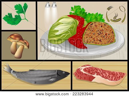 fish and meat dishes. set of restaurant food