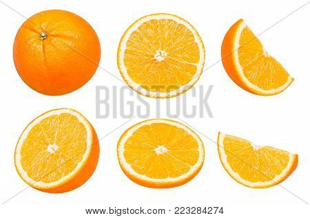 Isolated oranges. Collection of whole and sliced orange fruits isolated on white background with clipping path