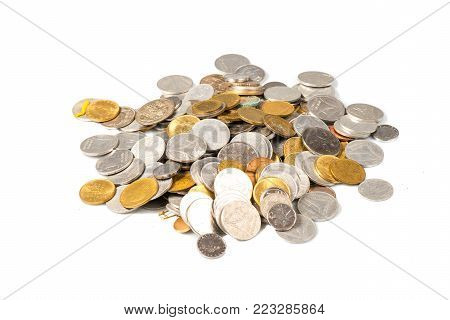 Coins of old Italian liras with white background.
