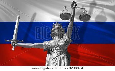 Cover about Law. Statue of god of justice Themis with Flag of Russia background. Original Statue of Justice. Femida, with scale, symbol of justice with Russia flag, 3d rendering.