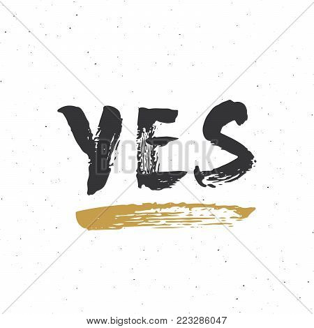 YES, NO, LIKE, LOL, OMG and WTF lettering handwritten signs set, Hand drawn grunge calligraphic text. Vector illustration.