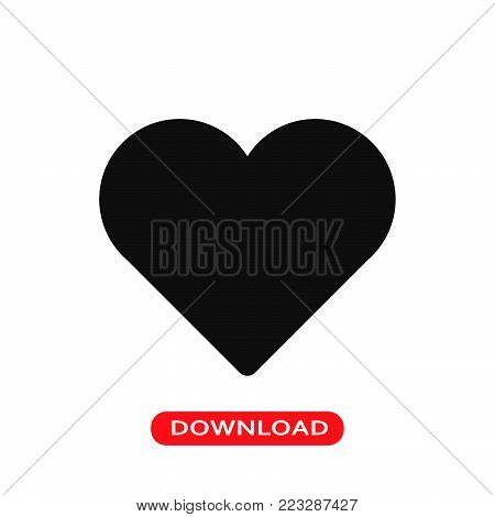 Valentine heart icon vector in modern flat style for web, graphic and mobile design. Valentine heart icon vector isolated on white background. Valentine heart icon vector illustration, editable stroke and EPS10. Valentine heart icon vector simple symbol f