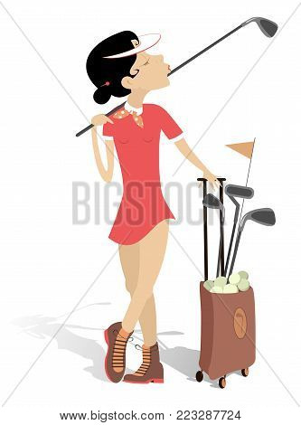 Young woman plays golf isolated illustration. Pretty young woman with a golf club on the shoulder and bag full of golf clubs and balls isolated on white illustration