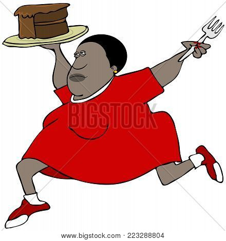 Illustration of a chubby woman running with a piece of chocolate cake and a fork.
