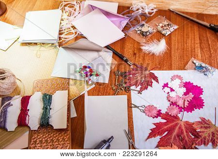 Scrapbooking elements and accessories with autumn leaves