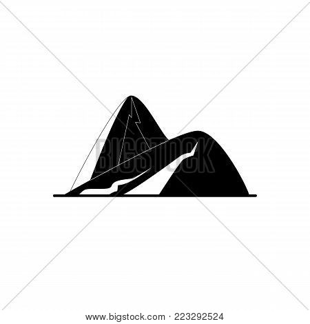 Sloping hills silhouette icon in flat style. Mountain symbol isolated on white background