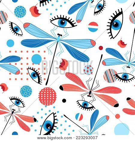 Seamless bright dragonfly pattern and eyes on a light background