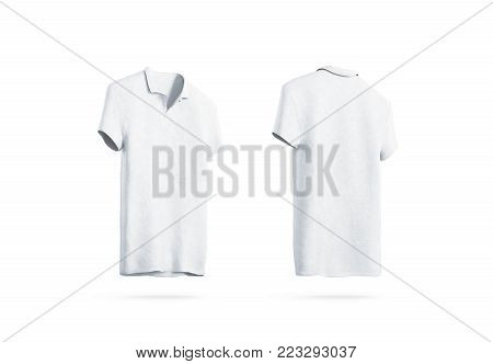 Blank white polo shirt mockup isolated, front and back side view, 3d rendering. Empty sport t-shirt uniform mock up. Plain clothing design template. Cotton clear dress with collar and short sleeves
