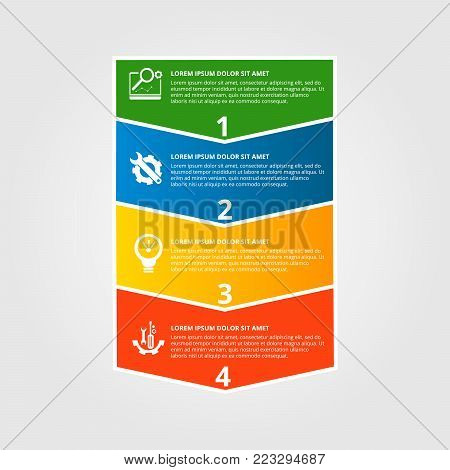Modern Vector Illustration. Infographic Template With Four Elements, Arrows Of The Rectangle And Per