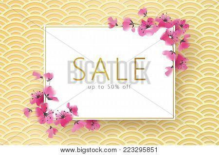 Spring seasonal sakura flower golden japanese banner. Asian korean oriental ornament wave pink blossom promotional web background template vector watercolor illustration art