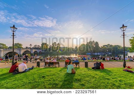 LONDON, UNITED KINGDOM - OCTOBER 16: Riverside park area of Richmond, this is a popular landmark where many people come to relax on October 16, 2017 in London