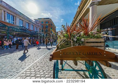 LONDON, UNITED KINGDOM - OCTOBER 06: This is Covent Garden piazza, a popular tourist area for shopping in central London on October 06, 2017 in London