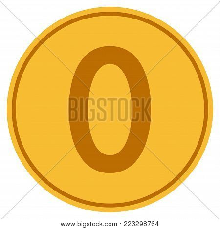 Zero gold coin icon. Vector style is a golden yellow flat coin symbol.