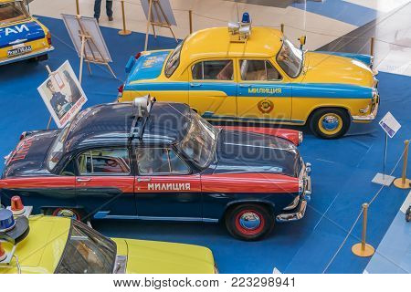 Moscow, Russia - November 23, 2017: Two Soviet Union police cars GAZ-21 Volga. Retro car exibition in Metropolis shopping mall