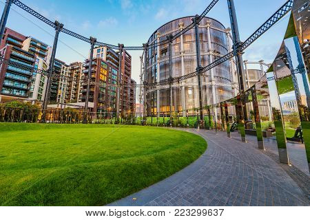 LONDON, UNITED KINGDOM - SEPTEMBER 23: This is the Gasholders park, a new park with contemporary architecture on September 23, 2017 in London