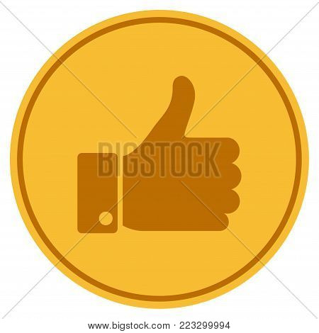 Thumb Up gold coin icon. Vector style is a golden yellow flat coin symbol.