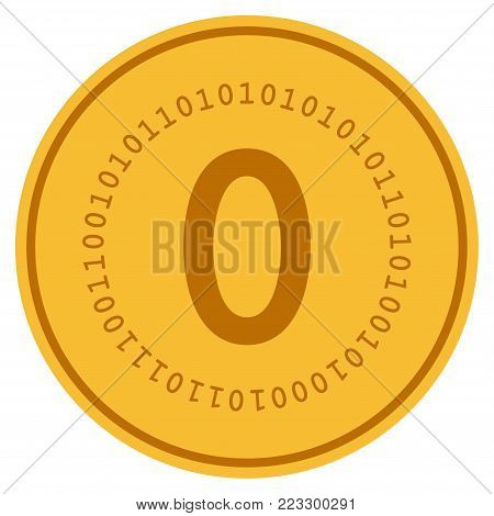 Zero Digital gold coin icon. Vector style is a golden yellow flat coin symbol.
