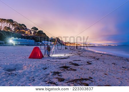 Night view of Bournemouth beach and seaside in England