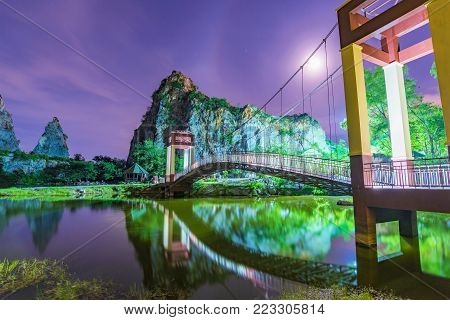 Scenic Night view of Khao Ngu stone park in Thailand