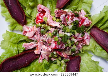 nourishing delicious meat salad. healthy nutrition recipe. perfect breakfast for gluttons. closeup concept.