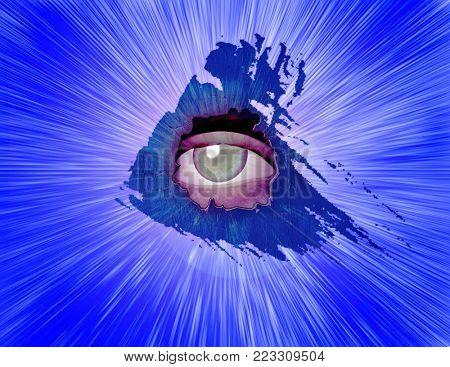 Surreal art. All-seeing eye. 3D rendering