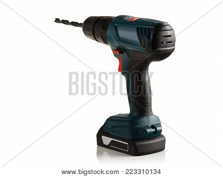 powerful cordless drill, screwdriver on a white background