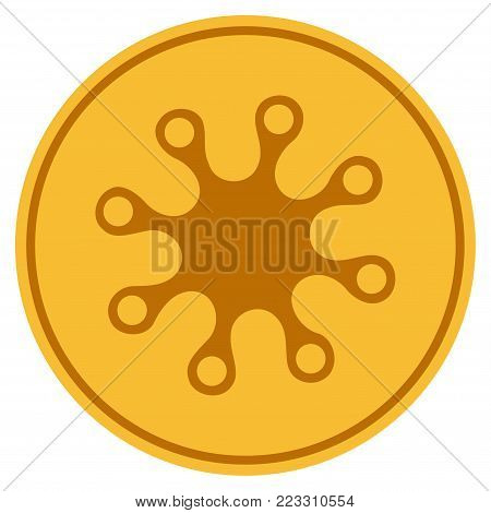 Axenic gold coin icon. Vector style is a golden yellow flat coin symbol.