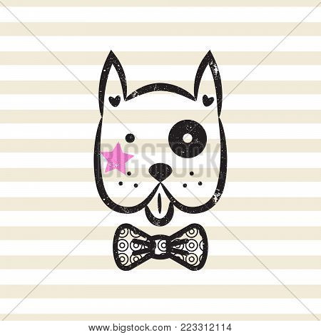 Cute gentleman dog tshirt design vector. Puppy head textured with bow tie on stripe background.
