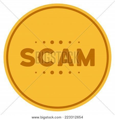 Scam Caption gold coin icon. Vector style is a golden yellow flat coin symbol.