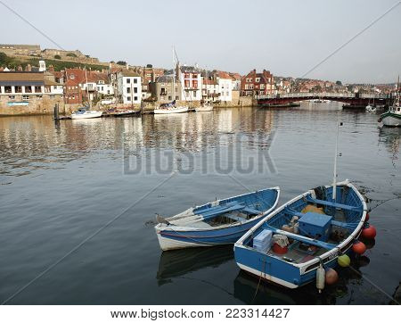 WHITBY HARBOUR FISHING BOATS AND SWING BRIDGE