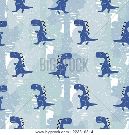 Dino blue color seamless vector pattern camo. Kids animal apparel and wallpaper print.