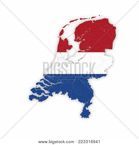 Map of Netherlands with rivers and lakes in colors of the national flags. Please look at my other images of cartographic series - they are all very detailed and carefully drawn by hand WITH RIVERS AND LAKES.