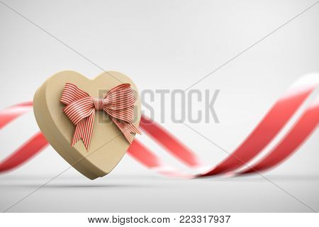 Craft heart shaped gift box with bow and red curved ribbon on white. 3D render