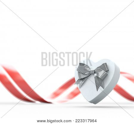 White heart shaped gift box with bow and red curved ribbon on white. 3D render