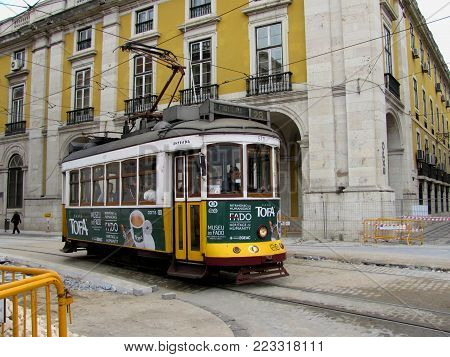 Lisbon, Portugal - April 22, 2012: View of the famous yellow tramway at Lisbon Portugal.